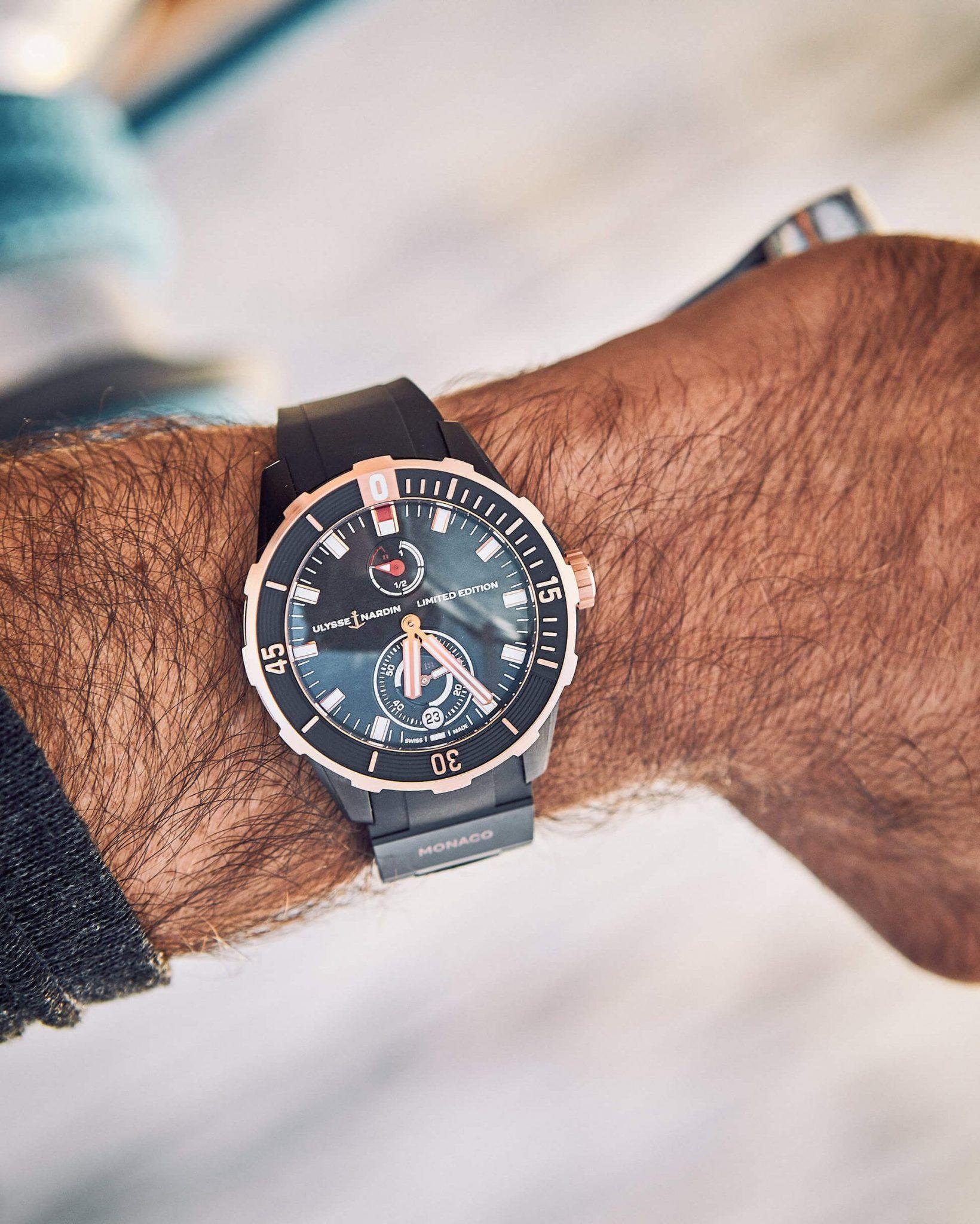 red buyle new diver chronometer wrist shot ulysse nardin 2