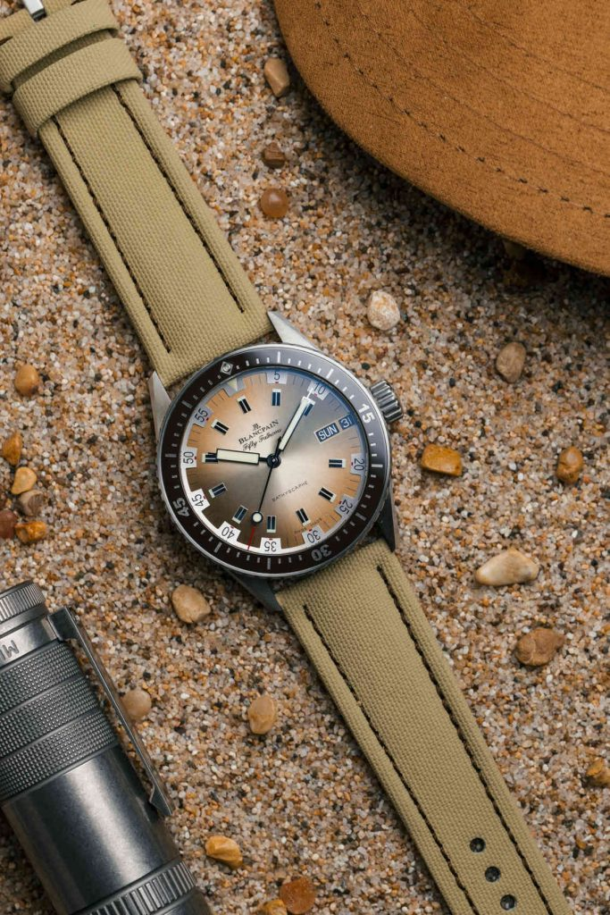 Blancpain Fifty Fathoms Bathyscaphe Day Date Desert Edition correa
