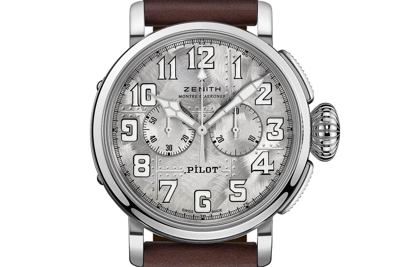 Zenith Pilot Silver Cronograph deta esfera