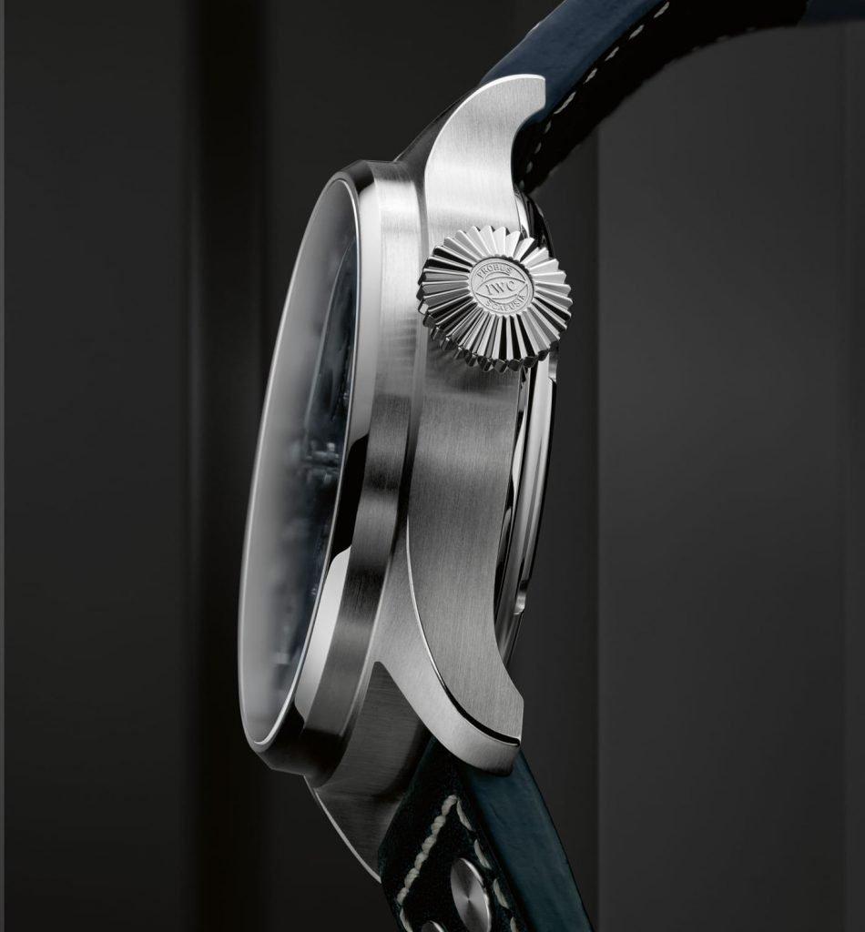 IWC Gran Reloj Aviador Calendario Perpetuo Azul lado