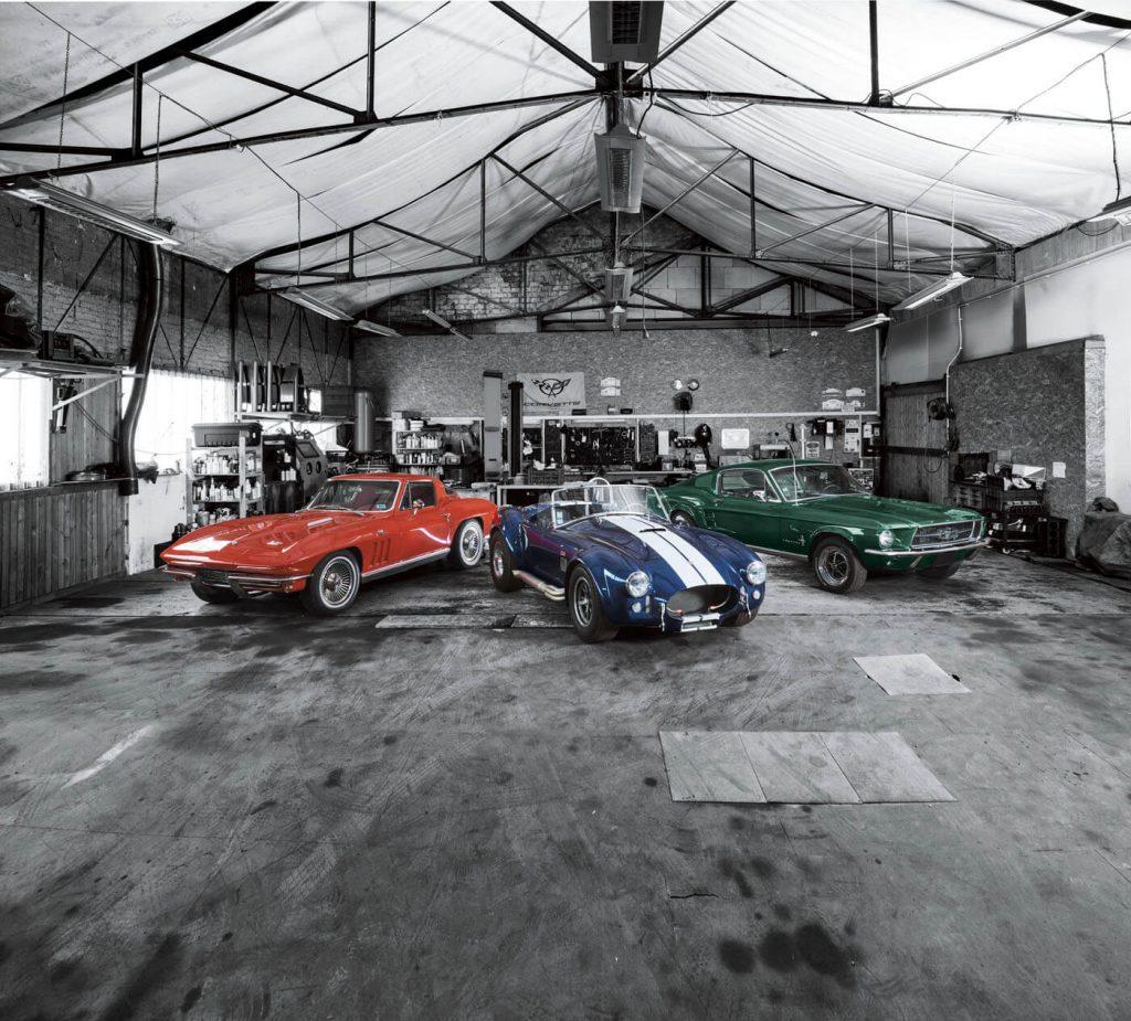 Chevrolet Corvette, el Ford Mustang y el Shelby Cobra