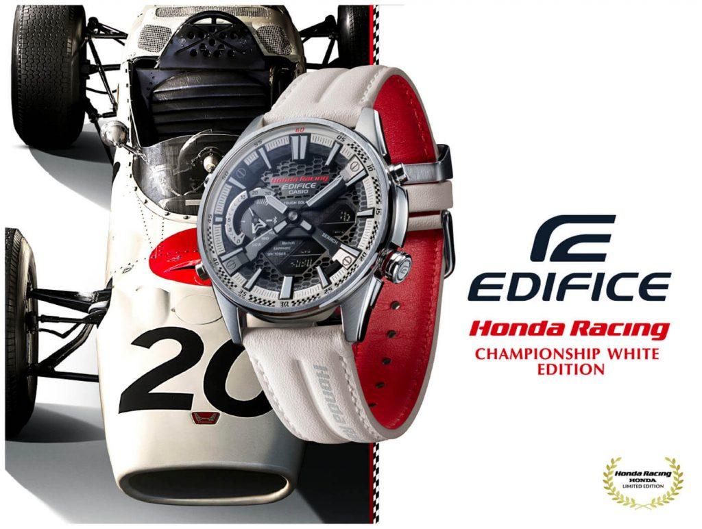 Casio Edifice ECB-S100HR Honda Racing Championship White Edition cartel